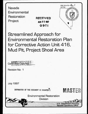 Primary view of object titled 'Streamlined approach for environmental restoration plan for corrective action unit 416, Mud Pit, Project Shoal Area'.