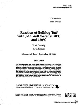 Primary view of object titled 'Reaction of Bullfrog tuff with J-13 well water at 90{sup 0}C and 150{sup 0}C'.