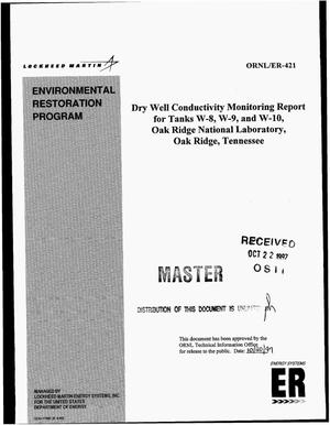 Primary view of object titled 'Dry well conductivity monitoring report for Tanks W-8, W-9, and W-10, Oak Ridge National Laboratory, Oak Ridge, Tennessee'.