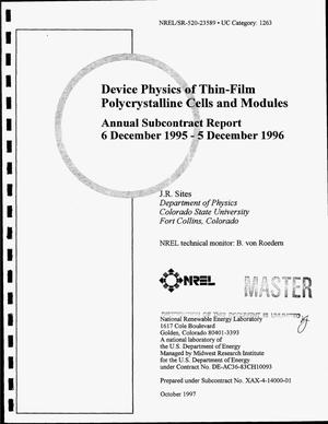 Primary view of object titled 'Device physics of thin-film polycrystalline cells and modules. Annual subcontract report, 6 December 1995--5 December 1996'.