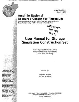 Primary view of object titled 'User manual for storage simulation construction set'.