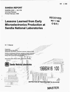 Primary view of object titled 'Lessons learned from early microelectronics production at Sandia National Laboratories'.