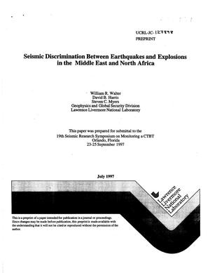 Primary view of object titled 'Seismic discrimination between earthquakes and explosions in the Middle East and North Africa'.