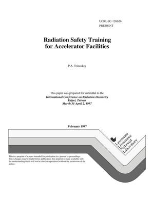 Primary view of object titled 'Radiation safety training for accelerator facilities'.
