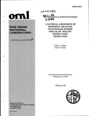 Primary view of object titled 'A National Assessment of Promising Areas for Switchgrass, Hybrid Poplar, or Willow Energy Crop Production'.