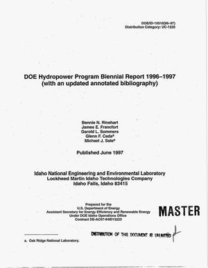 Primary view of object titled 'DOE Hydropower Program biennial report 1996-1997 (with an updated annotated bibliography)'.