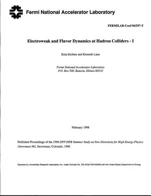Primary view of object titled 'Electroweak and flavor dynamics at hadron colliders - I'.