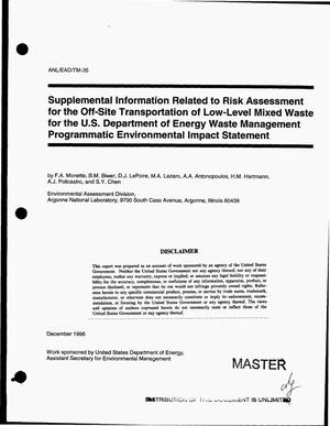 Primary view of object titled 'Supplemental information related to risk assessment for the off-site transportation of low-level mixed waste for the U.S. Department of Energy waste management programmatic environmental impact statement'.
