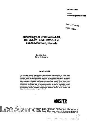 Primary view of object titled 'Mineralogy of drill holes J-13, UE-25A No. 1, and USW G-1 at Yucca Mountain, Nevada'.