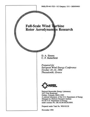 Primary view of object titled 'Full-scale wind turbine rotor aerodynamics research'.
