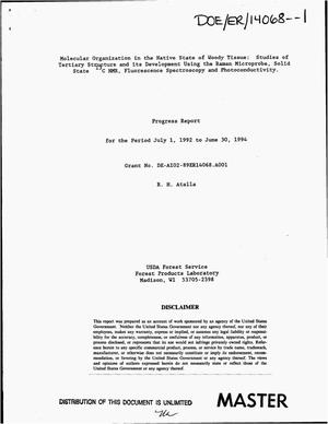 Primary view of object titled 'Molecular organization in the native state of woody tissue: Studies of tertiary structure and its development using the Raman microprobe, solid state {sup 13}C NMR, fluorescence spectroscopy and photoconductivity. Progress report, July 1, 1992--June 30, 1994'.