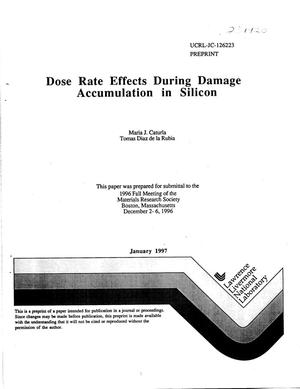 Primary view of object titled 'Dose rate effects during damage accumulation in silicon'.