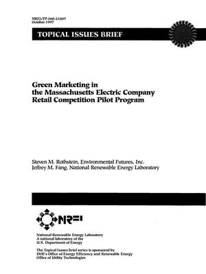 Primary view of object titled 'Green marketing in the Massachusetts electric company retail competition pilot program'.