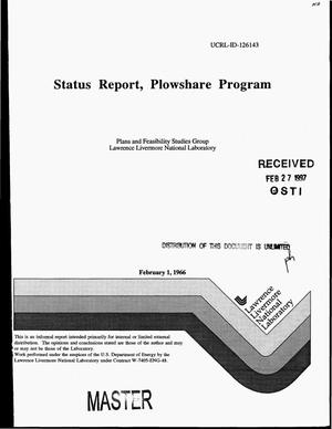 Primary view of object titled 'Status report, Plowshare Program'.