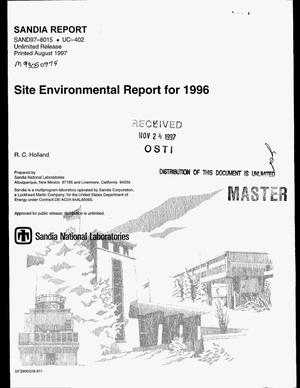 Primary view of object titled 'Site environmental report for 1996'.