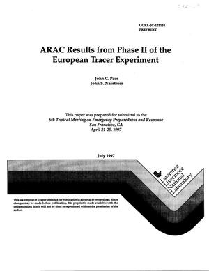 Primary view of object titled 'ARAC results from phase II of the European tracer experiment'.