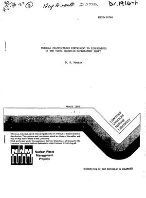 Primary view of object titled 'Thermal calculations pertaining to experiments in the Yucca Mountain Exploratory Shaft'.