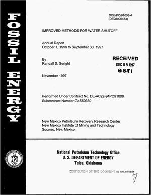 Primary view of object titled 'Improved methods for water shutoff. Annual report, October 1, 1996--September 30, 1997'.