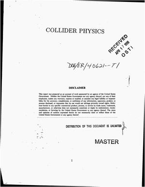 Primary view of object titled 'Collider physics. Final report, April 1, 1991--March 31, 1996'.