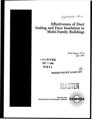 Primary view of object titled 'Effectiveness of duct sealing and duct insulation in multi-family buildings. Final report'.