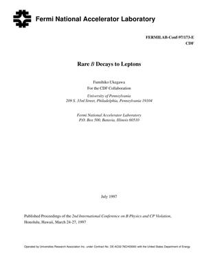 Primary view of object titled 'Rare B decays to leptons'.