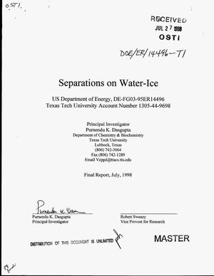 Primary view of object titled 'Separations on water-ice. Final report'.