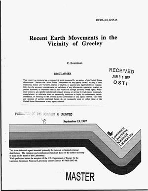 Primary view of object titled 'Recent earth movements in the vicinity of Greeley'.