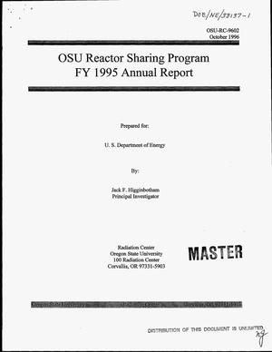 Primary view of object titled 'OSU Reactor Sharing Program FY 1995 annual report'.