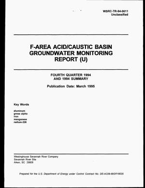 Primary view of object titled 'F-Area Acid/Caustic Basin Groundwater Monitoring Report. Fourth Quarter 1994, Groundwater Monitoring Report'.