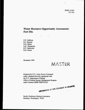 Primary view of object titled 'Water resource opportunity assessment: Fort Dix'.