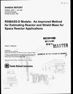 Primary view of object titled 'RSMASS-D models: An improved method for estimating reactor and shield mass for space reactor applications'.