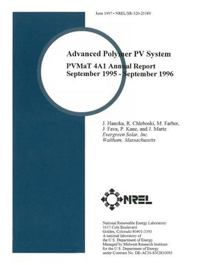 Primary view of object titled 'Advanced polymer PV system: PVMaT 4A1 annual report, September 1995--September 1996'.