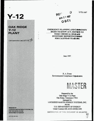 Primary view of object titled 'Emergency Planning and Community Right-to-Know Act, section 313 toxic chemical release inventory reporting forms for calendar year 1996'.