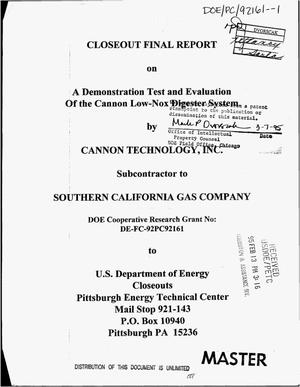 Primary view of object titled 'Closeout final report on a demonstration test and evaluation of the Cannon Low-NOx Digester System'.