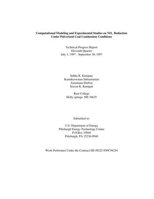 Primary view of object titled 'Computational Modeling and Experimental Studies on NO(x) Reduction Under Pulveerized Coal Combustion Conditions. Quarterly technical progress report, July 1 - September 30, 1997'.