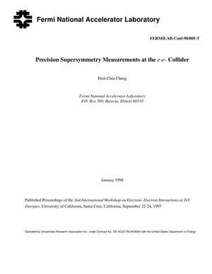 Primary view of object titled 'Precsion Supersymmetry Measurement at the e{minus} e{minus} Collider'.