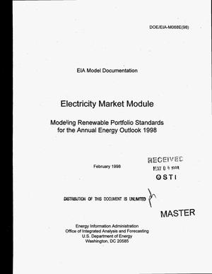 Primary view of object titled 'Modeling renewable portfolio standards for the annual energy outlook 1998 - electricity market module'.