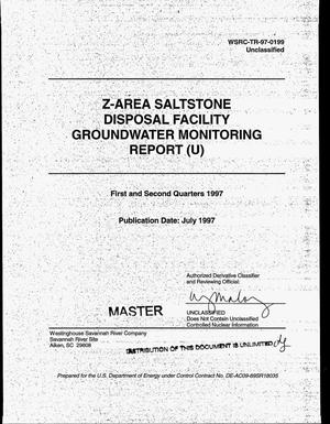 Primary view of object titled 'Z-Area saltstone disposal facility groundwater monitoring report. First and second quarters 1997'.
