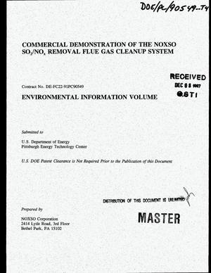 Primary view of object titled 'Commercial demonstration of the NOXSO SO{sub 2}/NO{sub x} removal flue gas cleanup system. Environmental information volume'.
