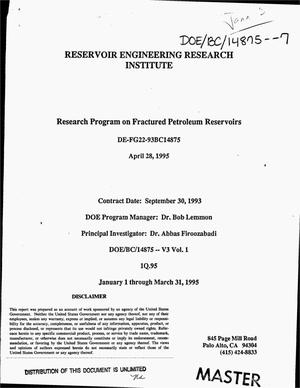 Primary view of object titled 'Research program on fractured petroleum reservoirs. Quarterly report, January 1, 1995--March 31, 1995'.