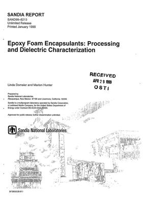 Primary view of object titled 'Epoxy Foam Encapsulants: Processing and Dielectric Characterization'.