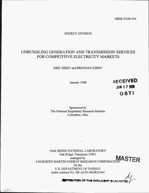 Primary view of object titled 'Unbundling generation and transmission services for competitive electricity markets'.