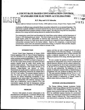 Primary view of object titled 'A count rate based contamination control standard for electron accelerators'.