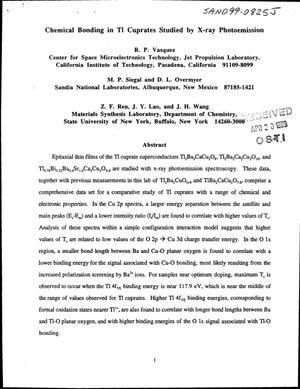 Primary view of object titled 'Chemical Bonding in Tl Cuprates Studied by X-Ray Photoemission'.