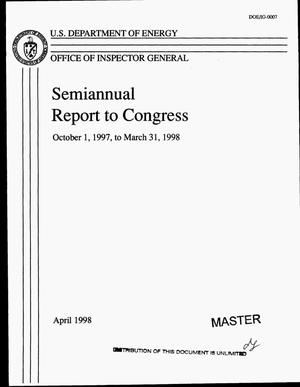 Primary view of object titled 'Office of Inspector General semiannual report to Congress, October 1, 1997--March 31, 1998'.