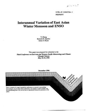 Primary view of object titled 'Interannual variation of East Asian Winter Monsoon and ENSO'.