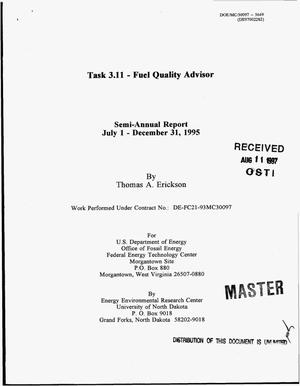 Primary view of object titled 'Task 3.11 -- Fuel Quality Advisor. Semi-annual report, July 1--December 31, 1995'.
