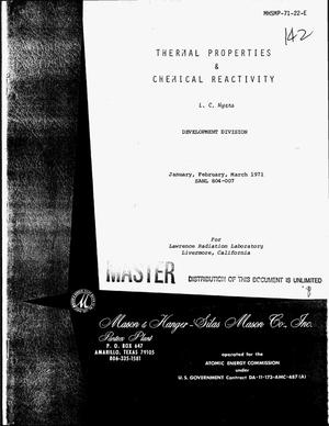 Primary view of object titled 'Thermal properties and chemical reactivity. January--March, 1971'.
