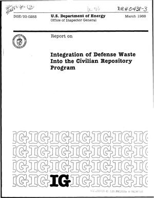 Primary view of object titled 'Integration of defense waste into the Civilian Repository Program'.