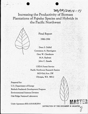 Primary view of object titled 'Increasing the productivity of biomass plantations of Populus species and hybrids in the Pacific Northwest. Final report, September 14, 1981--December 31, 1996'.